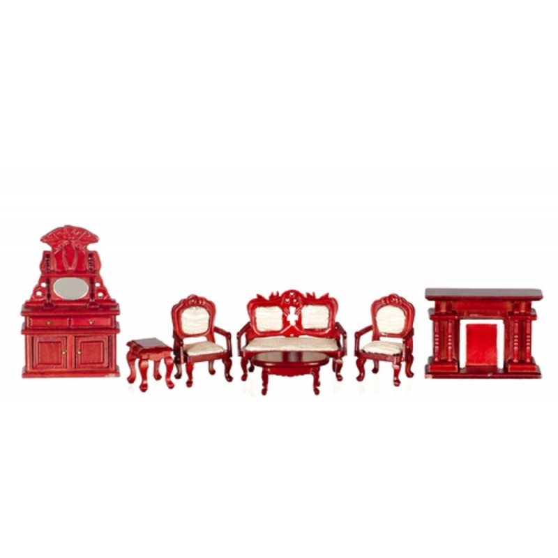Dolls House Miniature 1:24 Scale Victorian Salon Living Room Furniture Set