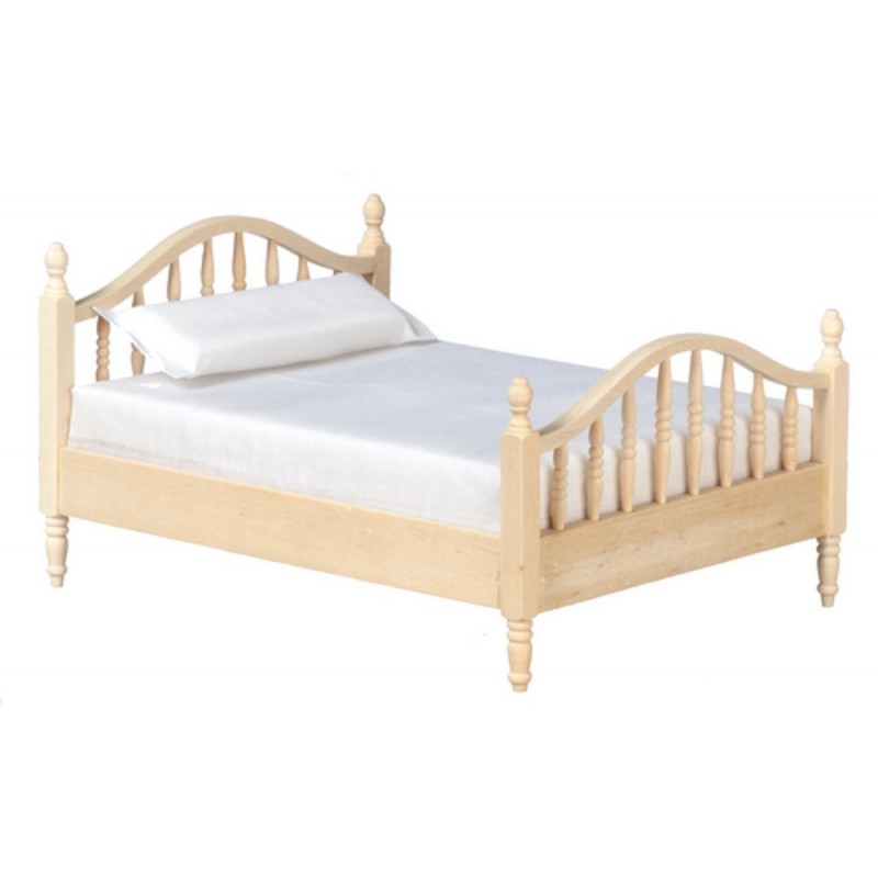 Dolls House Unfinished 1:12 Bedroom Furniture Natural Wood Spindle Double Bed