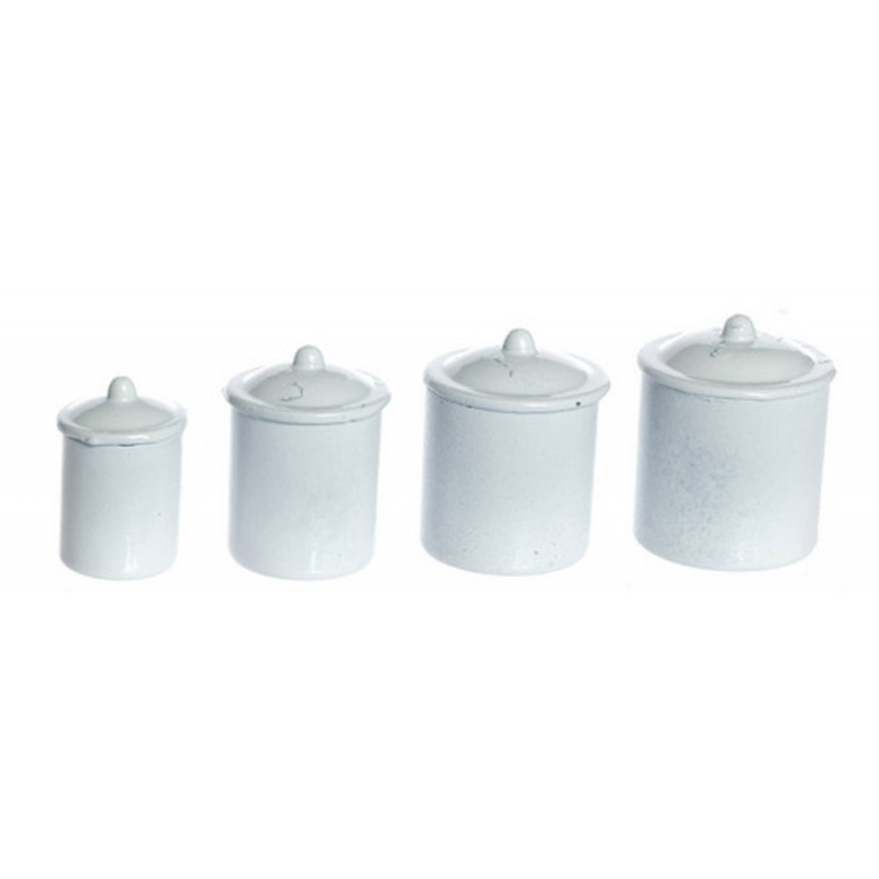 Kitchen Plain White Canister Storage Jar Set 4 Classics By Handley House Melody Jane Doll Houses
