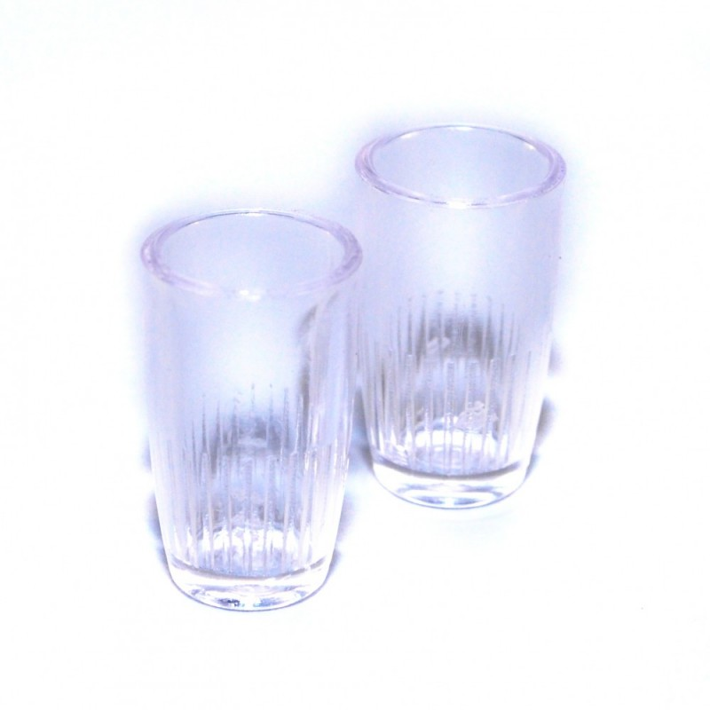Dolls House Pair of Clear Vases Miniature Flower Holder 1:12 Scale  Accessory