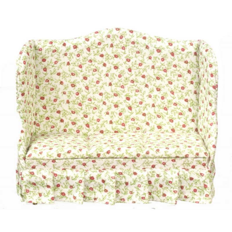 Dolls House Cherry Chintz Sofa Settee Miniature Living Room Furniture