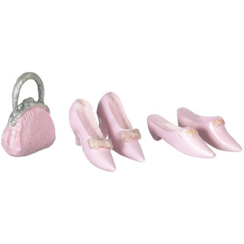 Dolls House Pink Ladies Shoes & Handbag Falcon Miniature Shop Bedroom Accessory
