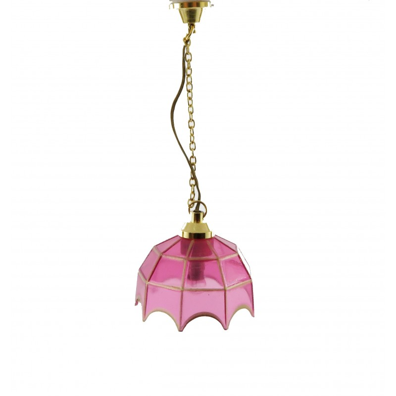 Dolls House Pendant Light with Pink Gold Shade 12V Miniature Electric Lighting