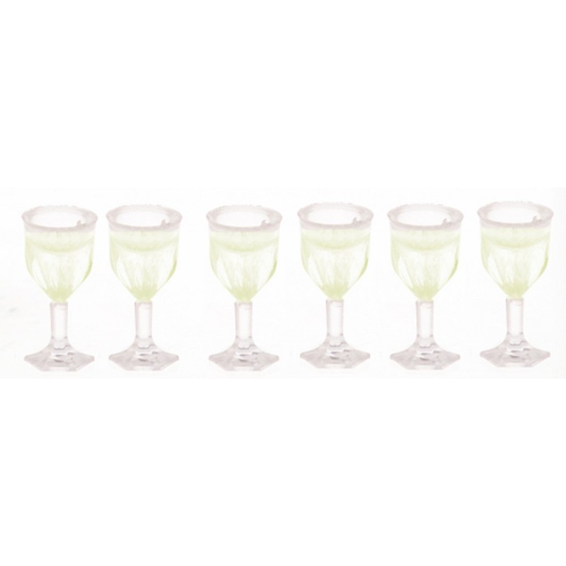 Dolls House Miniature Accessory Set of 6 Stem Wine Glasses 322