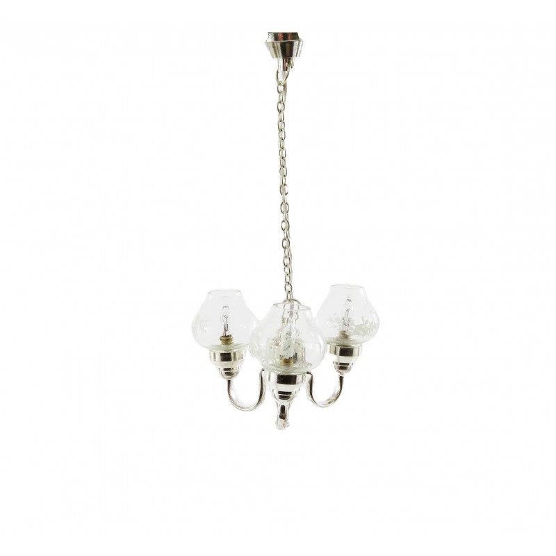 Dolls House 3 Arm Silver Chandelier Glass Globe Shades Miniature Electric Light