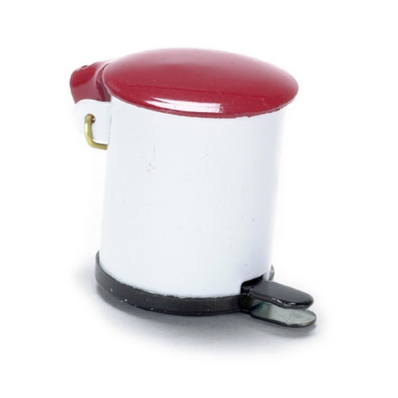 Dolls House Miniature 1:12 Scale Kitchen Accessory Red & White Metal Pedal Bin