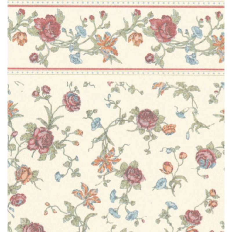 Dolls House Raffina Cream Rose Miniature Print Wallpaper 3 Sheets