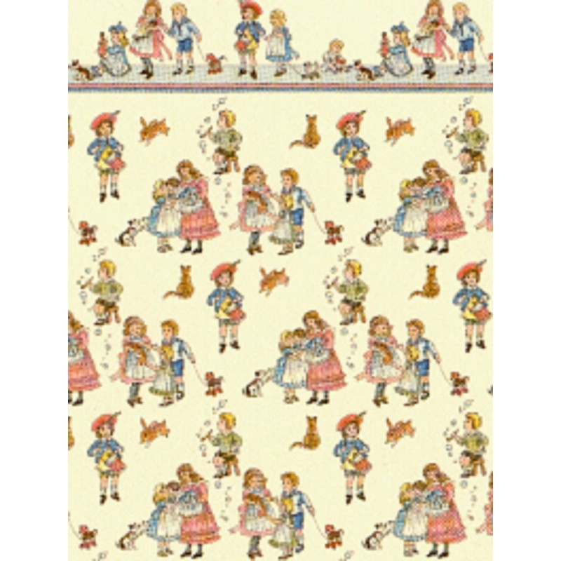 Dolls House Miniature Print 1:24 Scale Wallpaper Childrens Nursery Rhyme Cream