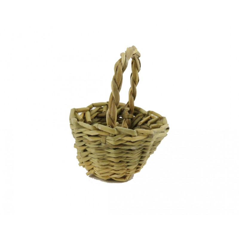 Dolls House Wicker Woven Grass Basket Round with Handle Shop Garden Accessory