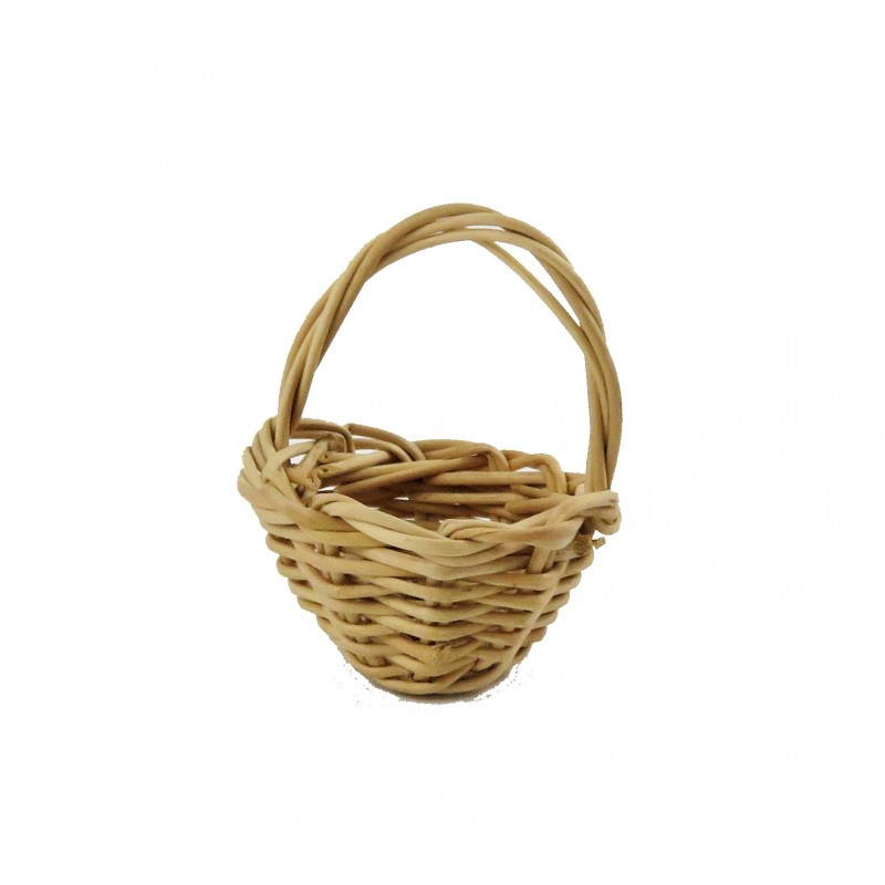 Dolls House Small Wicker Woven Round Basket Miniature Shop Garden Accessory