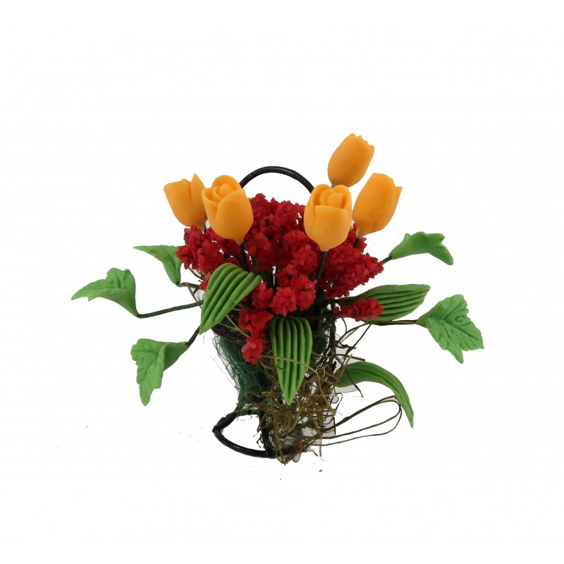 Dolls House Apricot & Red Flower Display in Black Wire Basket Garden Accessory