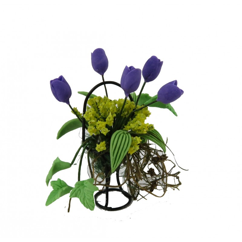 Dolls House Purple & Green Flower Display in Black Wire Basket Garden Accessory
