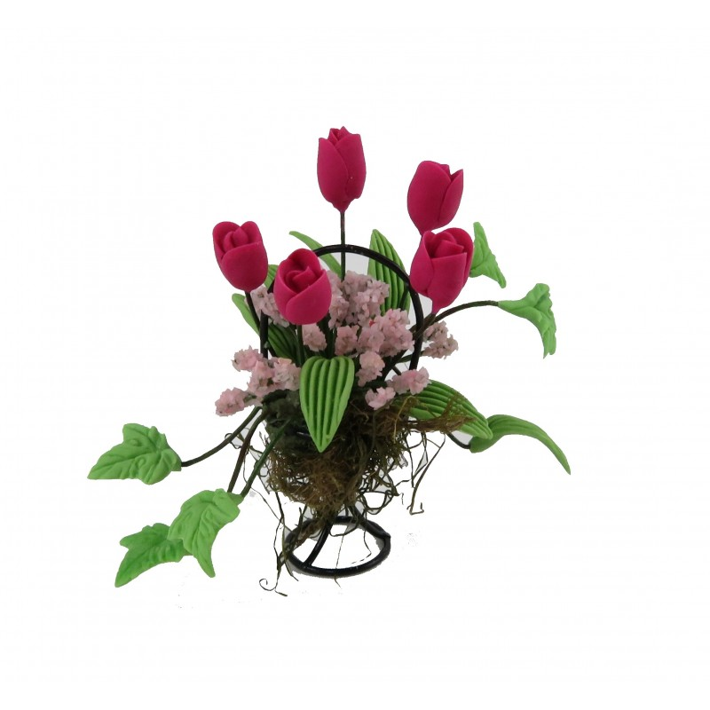 Dolls House Deep Pink Flower Display in Black Wire Basket Garden Accessory