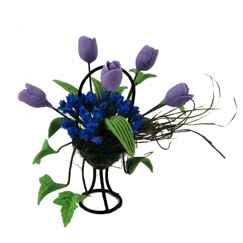 Dolls House Lilac & Blue Flower Display in Black Wire Basket Garden Accessory