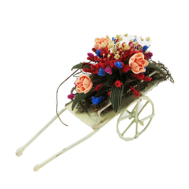 Dolls House Flower Display in Wheelbarrow Cart Garden Accessory C