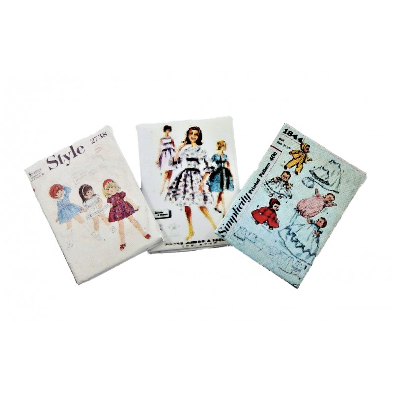 Dolls House 3 1950's Sewing Patterns 1:12 Miniature Dressmaking Accessory