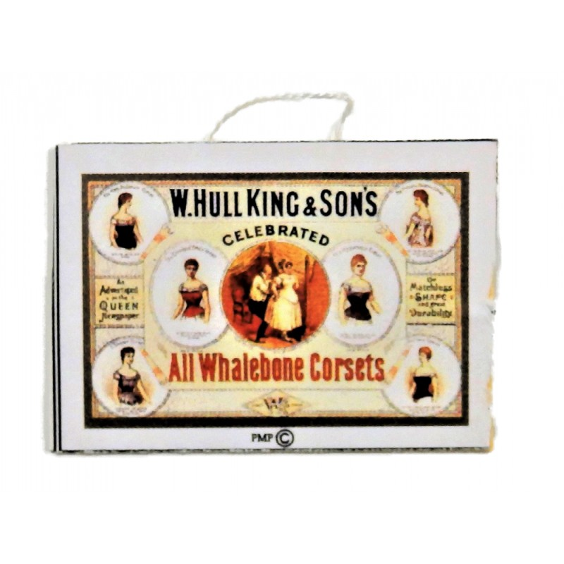 Dolls House Victorian Whalebone Corset Shop Poster 1:12 Scale Store Accessory