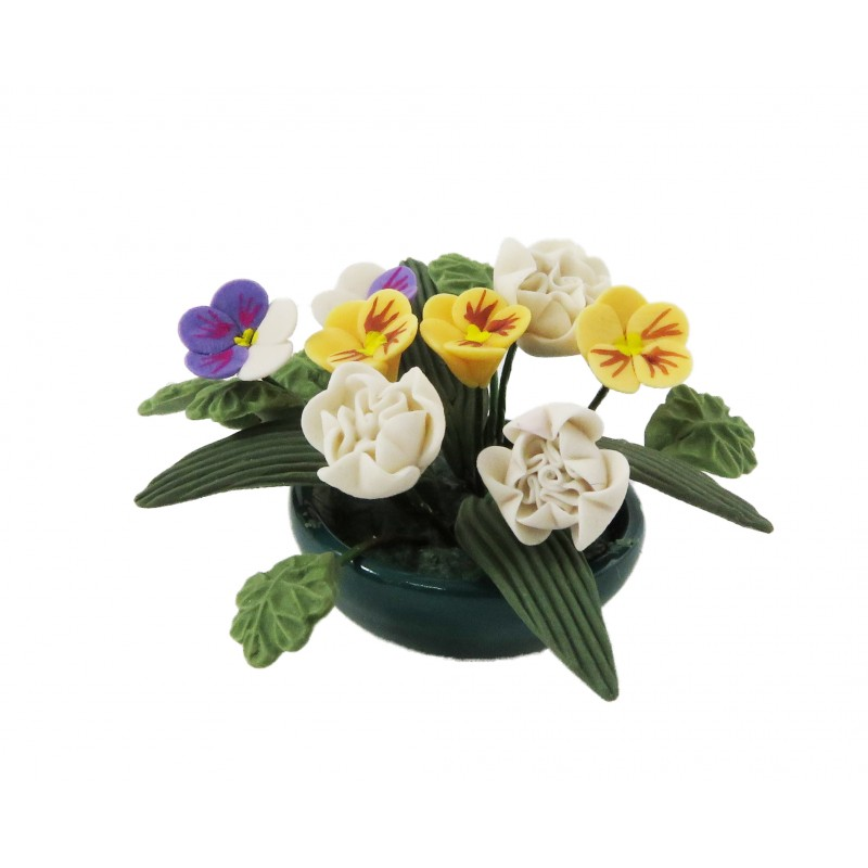 Dolls House Flower Display in Round Bowl White Yellow Table Centre Accessory