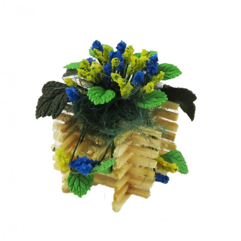 Dolls House Blue Yellow Flower Display in Wooden Planter Garden Accessory