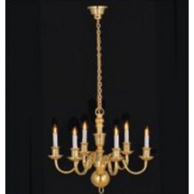 Melody Jane Dolls House Elite 6 Arm Brass Chandelier Candle Bulbs 12V Electric
