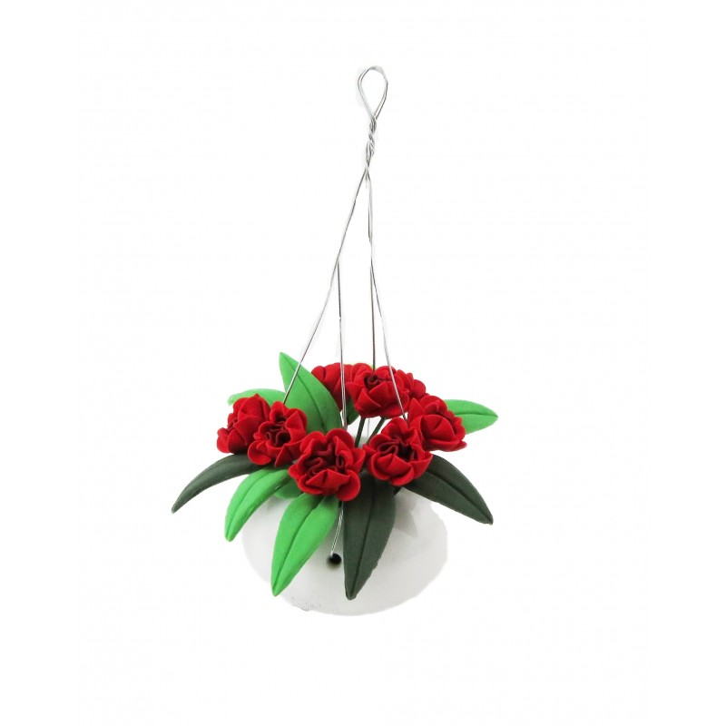Dolls House Red Flowering Plant in White Hanging Basket Home or Garden Accessory