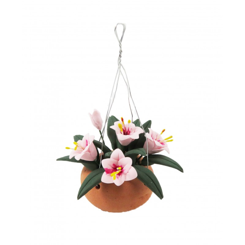 Dolls House Pink Flowers in Terracotta Hanging Basket Bowl Garden Accessory