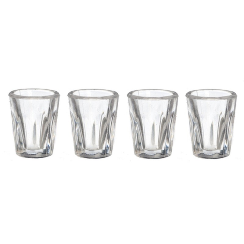Dolls House Miniature Pub Kitchen Dining Room Accessory 4 Bistro Tumbler Glasses