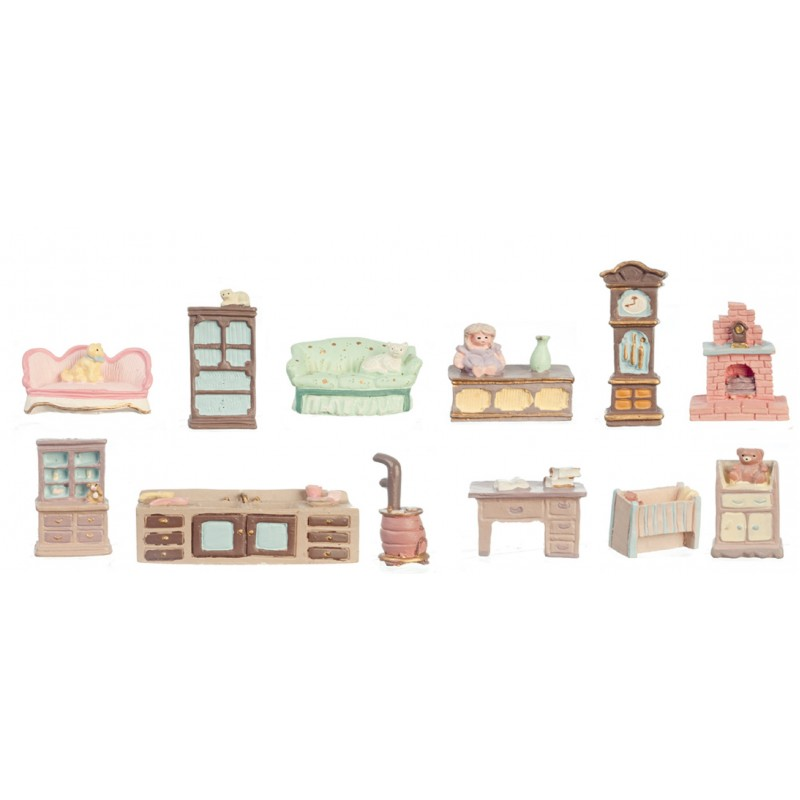 Dolls House 12 Piece Furniture Set Mini Miniatures 1:48 Scale 1/4 inch