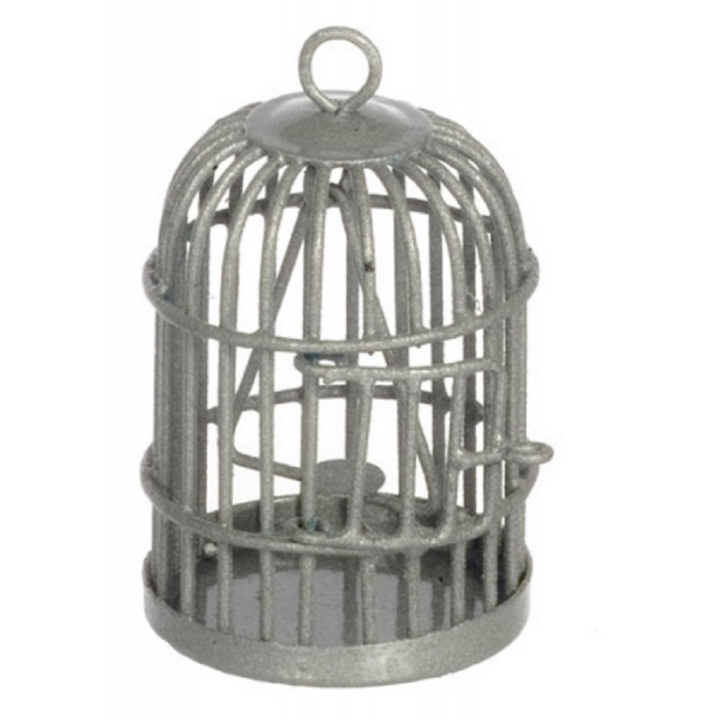 Dolls House Round Silver Birdcage Miniature 1:12 Scale Pet Accessory