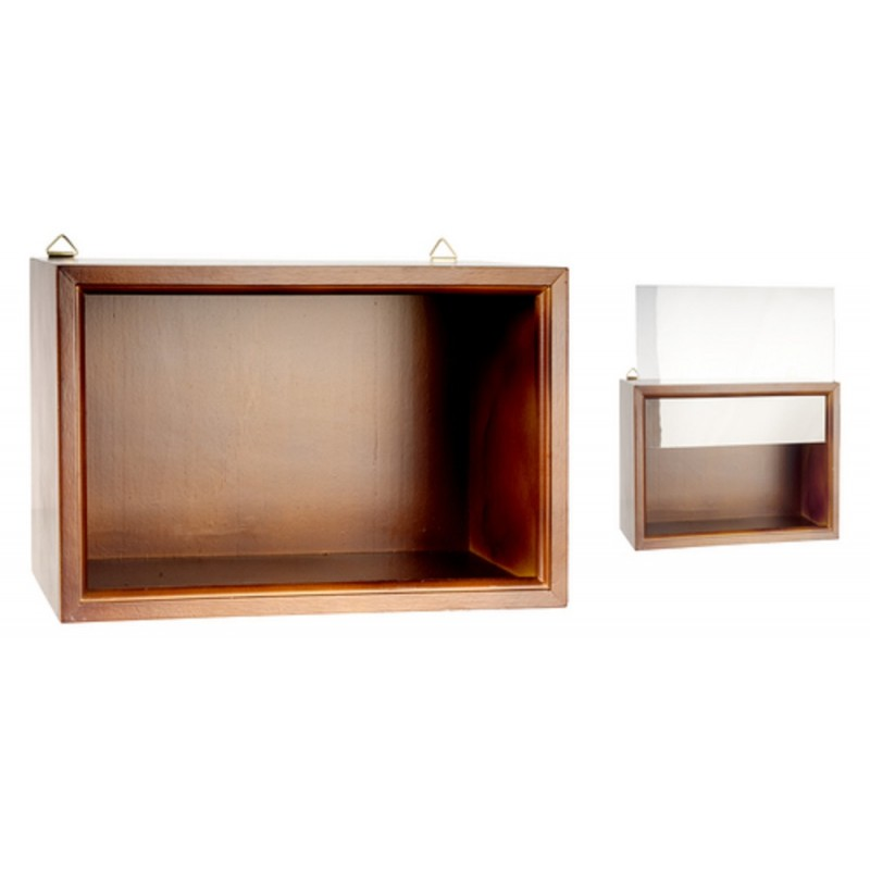Dolls House Walnut Shadow Room Box For Miniature Display