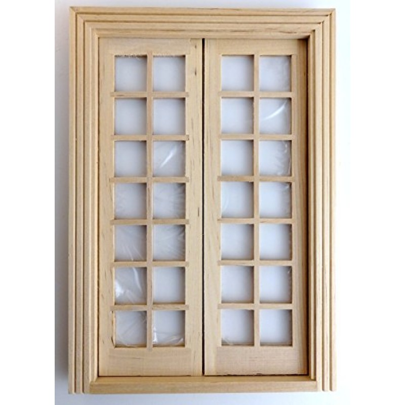 Dolls House Classic Wooden Double French Doors Builders DIY Bare Wood