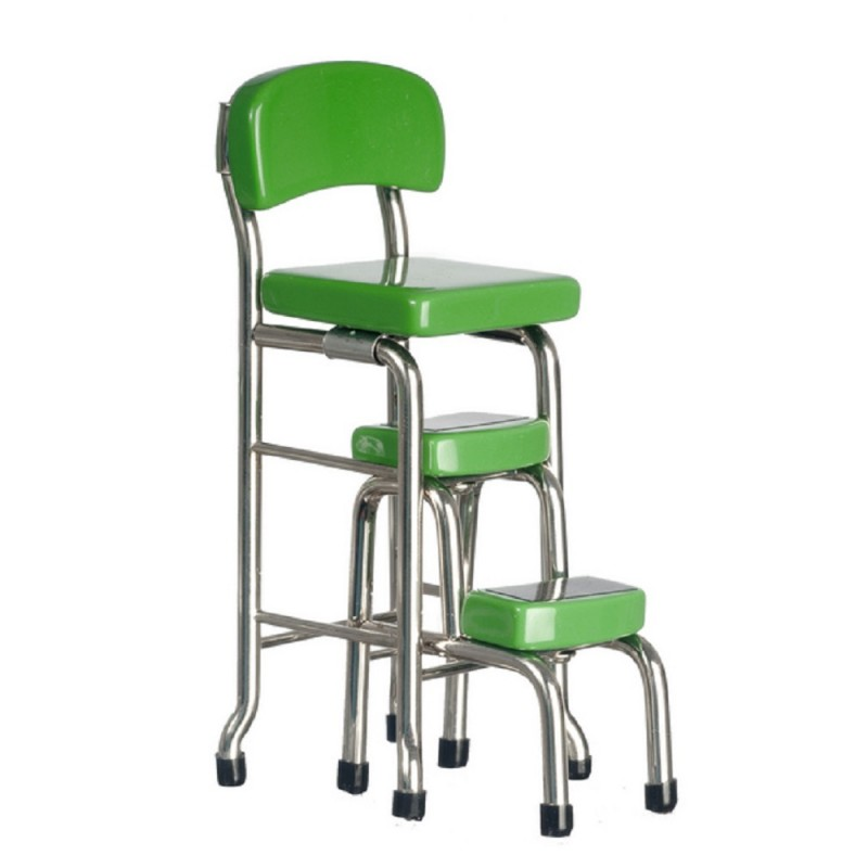 Dolls House Green Chrome Tall Chair Step Stool Miniature Kitchen Shop Furniture