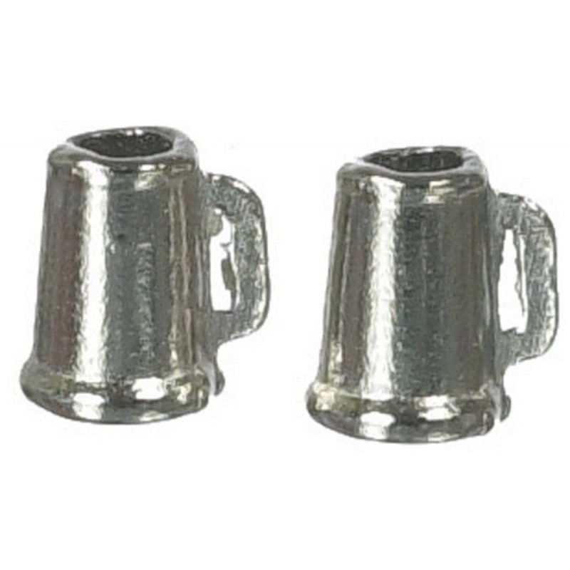 Dolls House Miniature 1:12 Scale Pub Bar Accessory 2 Pewter Beer Tankards Mugs
