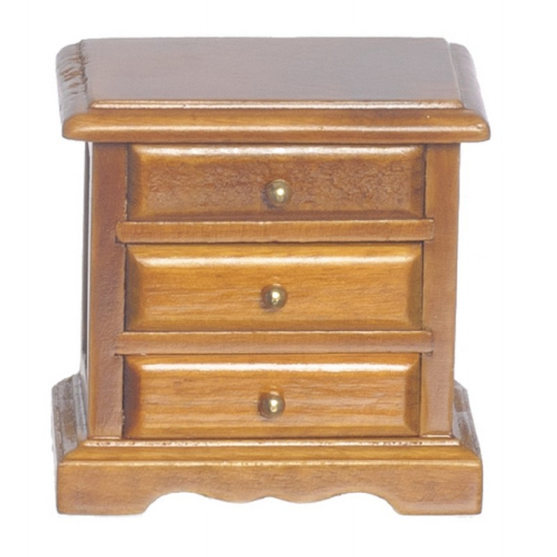 Dolls House Walnut Bedside 3 Drawer Chest Nightstand Miniature Bedroom Furniture