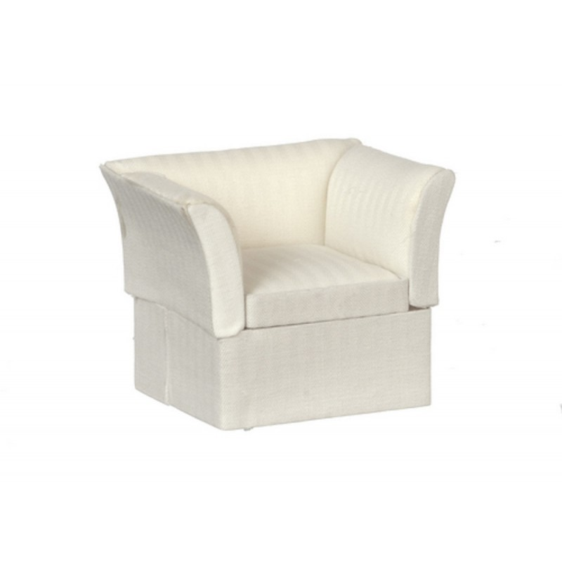 Dolls House Cream Art Deco Armchair Miniature Lounge Living Room Furniture
