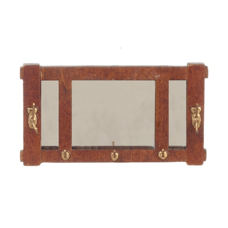 Dolls House Arts & Crafts Walnut Mission Wall Mirror Miniature Hall Accessory