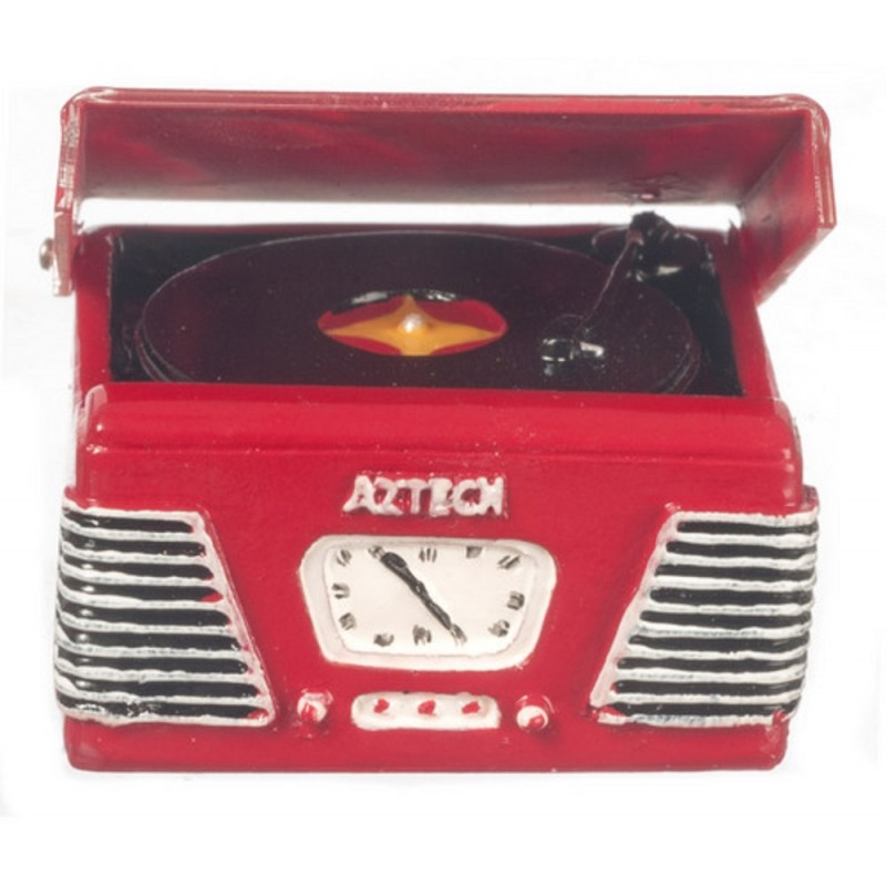 Dolls House 1950's Record Player Turntable in Red Miniature Music Room Accessory