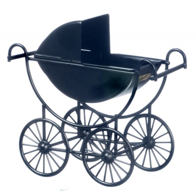 Dolls House Black Metal Baby Pram Old Fashioned 1:12 Miniature Nursery Furniture