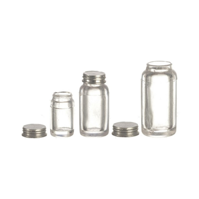 Dolls House Miniature 1:12 Scale Accessory Set 3 Empty Mason Jars with Lids
