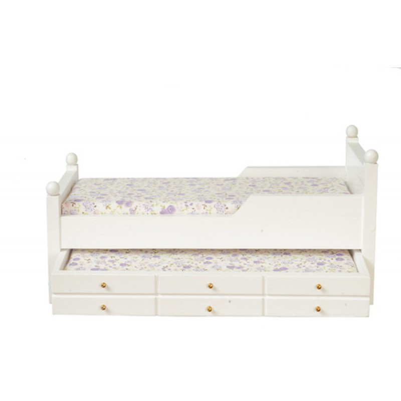 Dolls House Miniature Bedroom Furniture White Wooden Single Trundle Guest Bed