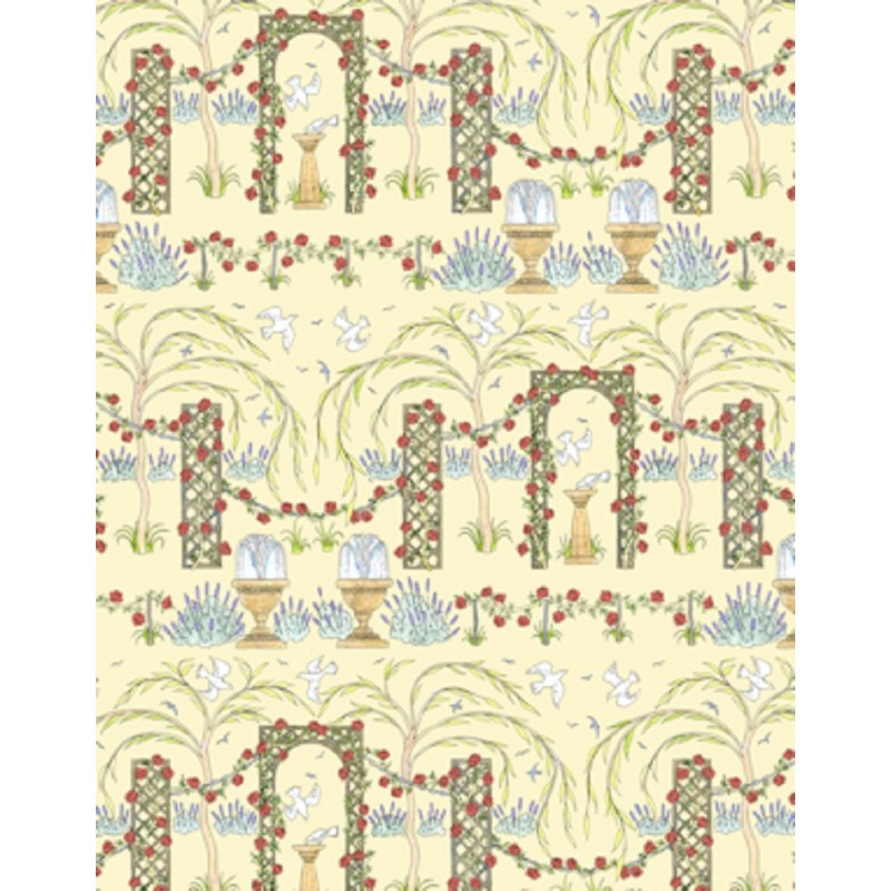 Dolls House 'Rose Trellis' Miniature Print Wallpaper