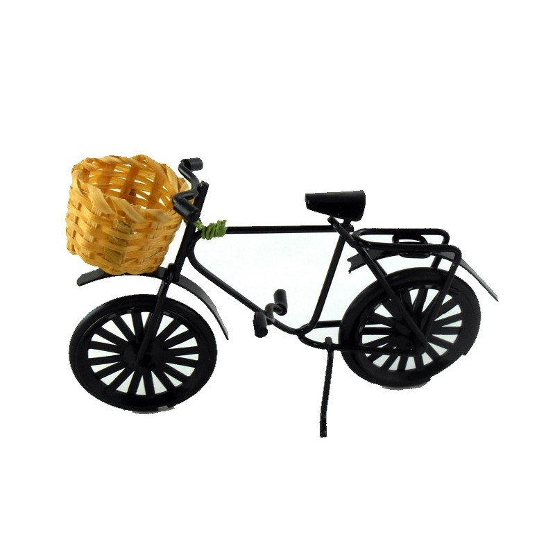 Dolls House Black Bike Bicycle with Shopping Basket Garden Accessory