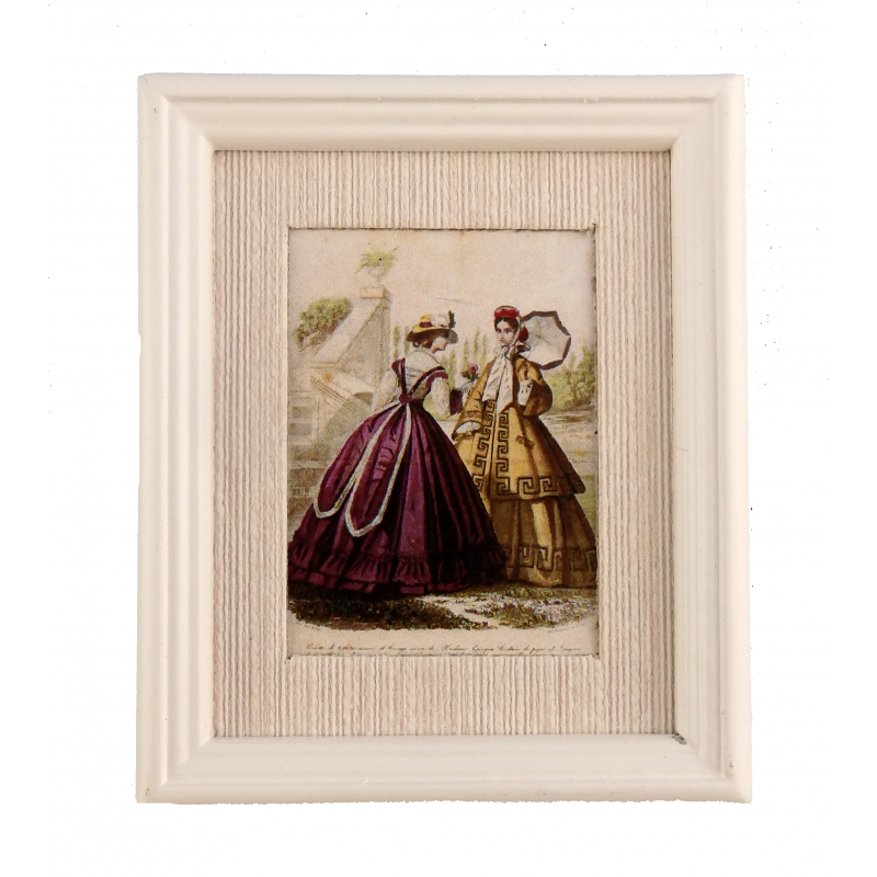Dolls House Winter Fashion Plate Painting in White Frame Accessory Picture