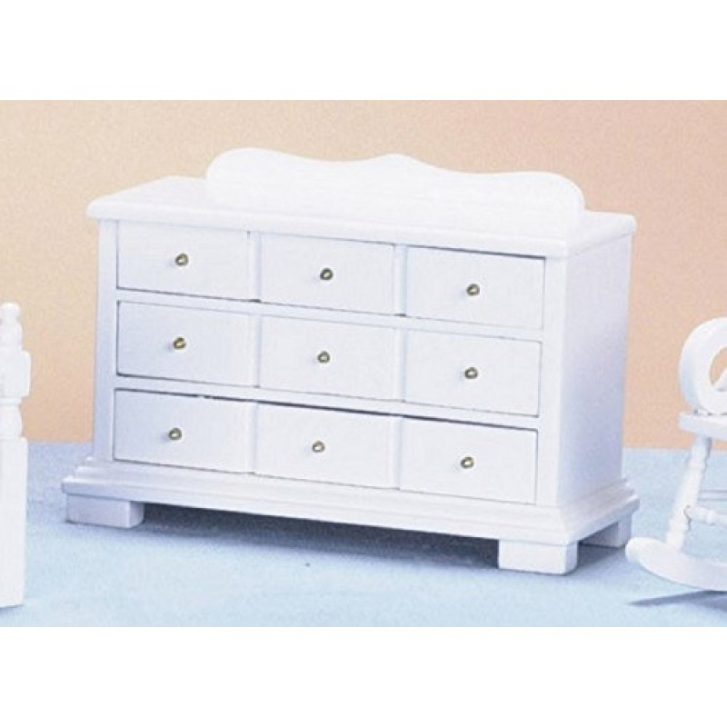 Dolls House White Triple Chest of Drawers Miniature Bedroom Furniture