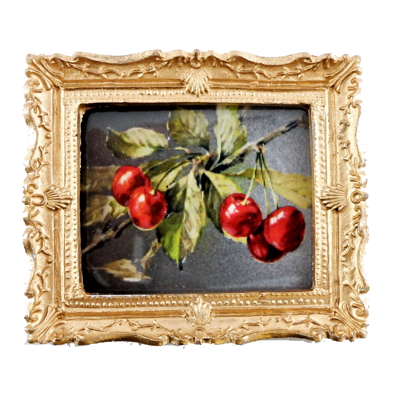 Melody Jane Dolls House Miniature Cherries on a Branch Painting Gold Frame