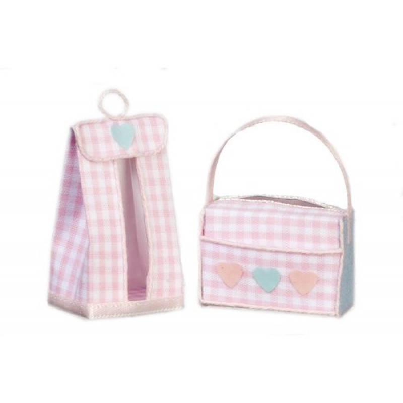 Dolls House Pink Gingham Nappy Stacker & Baby Bag Miniature Nursery Accessory