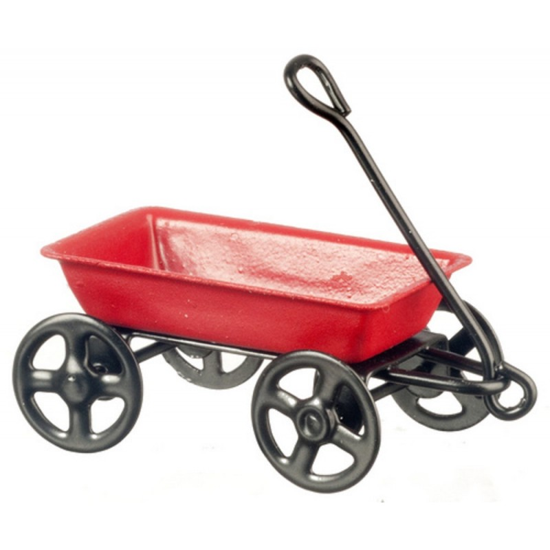 Dolls House Small Pull Along Red Metal Truck Cart Wagon Toy Nursery Accessory