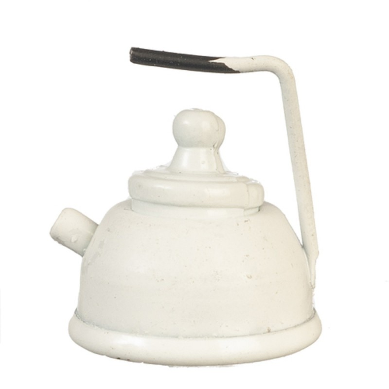 Dolls House White Kettle Metal Kitchen Accessory Miniature 1:12 Scale