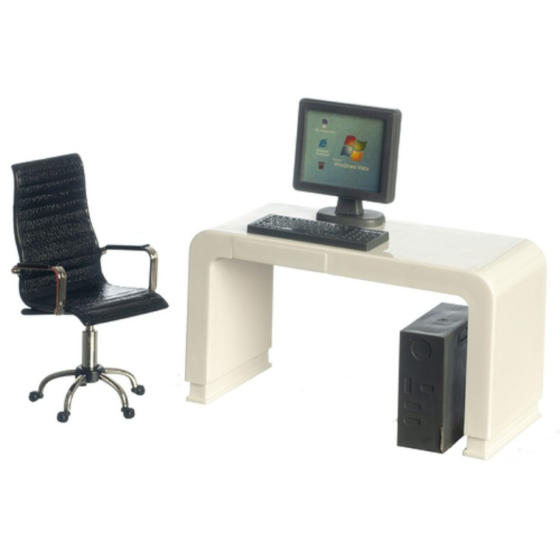 Dolls House White Computer Desk & Black Swivel Chair Modern Office Furniture Set
