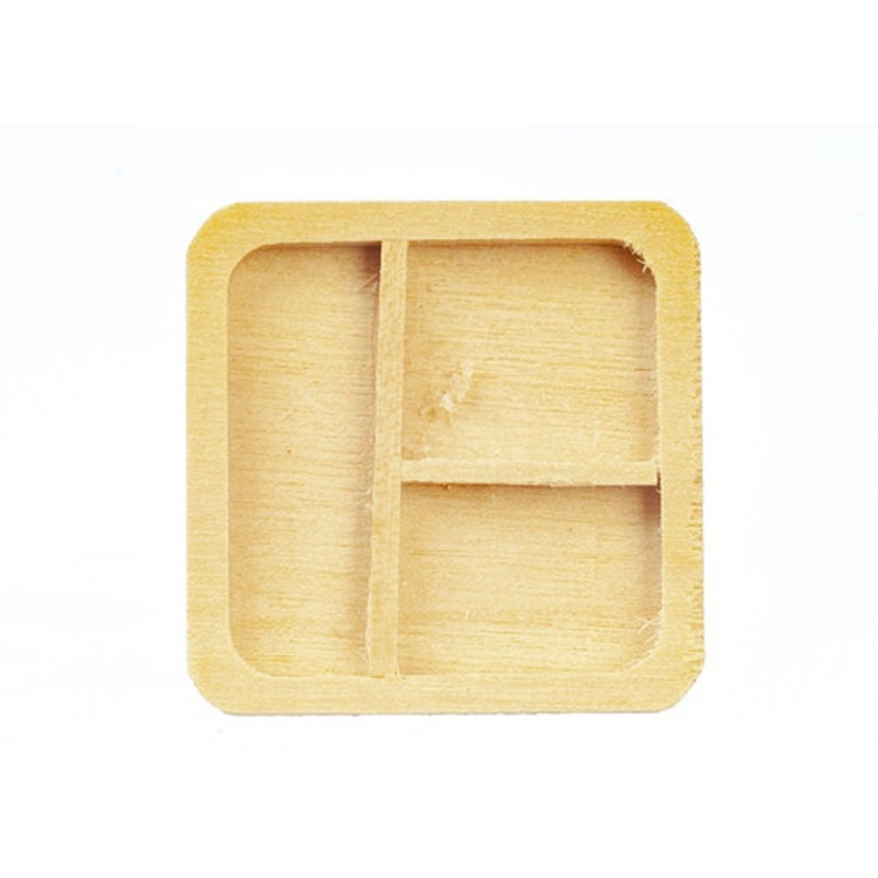 Dolls House Wooden Partition Tray Modern Plate Dining Room Kitchen Accessory